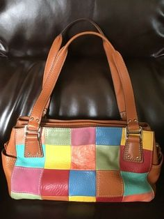 Details about FOSSIL Multicolor Patchwork Green Leather Handbag Shoulder Bag  Purse 79e3ad396d34e
