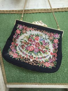 Vintage Post WWII Small Tapestry Purse Handbag - Great Condition by NotJustOldVintage on Etsy https://www.etsy.com/listing/238560096/vintage-post-wwii-small-tapestry-purse