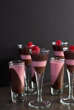 Dark Chocolate and Raspberry Panna Cotta