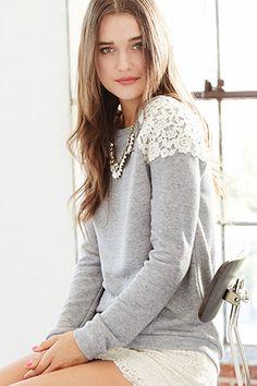 Cute Grey and White Detailed Sweatshirt