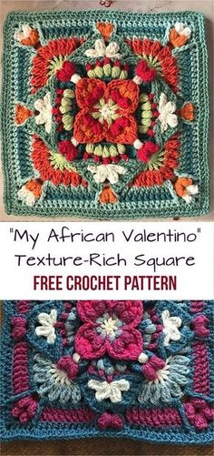 """""""""""My African Valentino"""" Crochet Texture-Rich Square Free Pattern Granny square Free pattern"""", """"A romantic texture-rich square inspired by sultry, perf Motifs Granny Square, Crochet Blocks, Granny Square Crochet Pattern, Afghan Crochet Patterns, Crochet Squares, Granny Squares, Stitch Patterns, Mandala Au Crochet, Crochet Motif"""