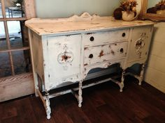 Repurposed Gems: A Shabby Shabby Buffet - White Milk Paint