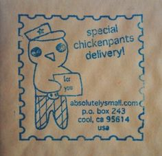 JLMould.etsy.com created this custom rubber stamp for Chickenpants!! Tooo cute!