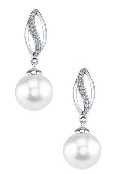18K White Gold 9mm White Freshwater Pearl & Diamond Earrings on HauteLook