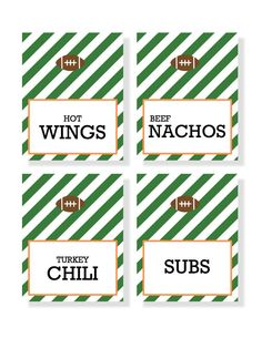 FOOTBALL FOOD LABELS  diy printable by simplypchee on Etsy, $4.00