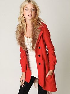 Free People Fur Trimmed Wool Coat at Free People Clothing Boutique - StyleSays
