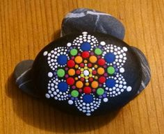 Painted Rock~ by Miranda Pitrone~ Rainbow Mandala Dot Art~ Painted Stone~ Rock Art~ Dots~Dotillism~Flower~Decor by P4MirandaPitrone on Etsy