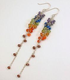 Balance 7 Chakras Gemstone Cascade Sterling Hypo Allergenic Earrings $115| Healing Crystal Jewelry