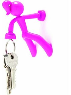 1 X Key Petite - Key Pete Girl Strong Magnetic Key Holder Hook Rack Magnet - Pink ❤ Peleg Design