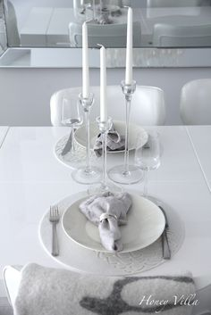 table setting, white dining room