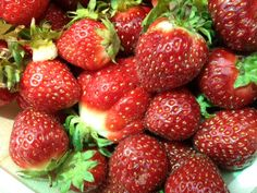 Strawberries, just picked, from Walker Farm, Dummerston, Vermont. Smaller, dense, bumpy, spitting juice, solid, and just packed with intense strawberriness. Some things are worth being willing to wait for all year, and celebrate then and there, in their moment, in the full saturation of their flavor., color, fragrance. The pale fibrous large red things that pass as strawberries in January or December ; they just aren't strawberries.