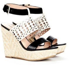 Sole Society Bristol wedge sandal (125 BRL) ❤ liked on Polyvore featuring shoes, sandals, wedges, heels, black crema black, wedge sandals, black wedge sandals, platform sandals, high heels sandals and block heel sandals