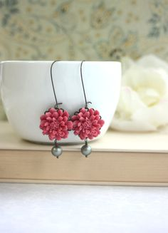 Romantic Dusty Red Rose Flower Matte Olive Green Pearl by Marolsha