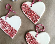 VENDU en céramique Noël ornements - décorations d