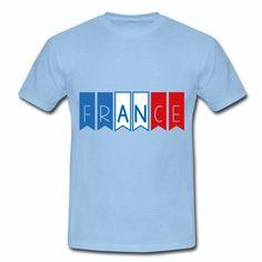 T-shirt Bleu Ciel France bleu blanc rouge Fanions France