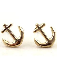 Gold Anchors Stud Earrings. adorable