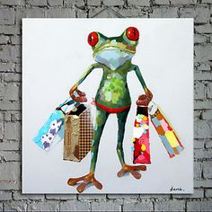Happy Frog Handmade Oil Painting
