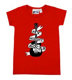 Mommy Rocks Guitar Tattoo Red T-shirt by My Baby Rocks Mother's Day gift ideas for a new mom! www.punkbabyclothes.net