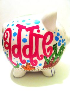 Personalized Hand Painted Ceramic Piggy Bank