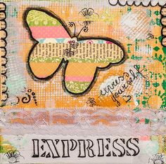 """Abstract butterfly collage mixed media painting with affimation - """"Express yourself"""", decorative wall art, giclee print, 12"""" x 12"""", 30x30 cm"""
