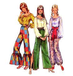 Fabulous 70s Boho Peasant Blouse, Flounced, Harem or Split Leg High Waist Pants Vintage Sewing Pattern Simplicity 9670--Size Small. $11.95, via Etsy.