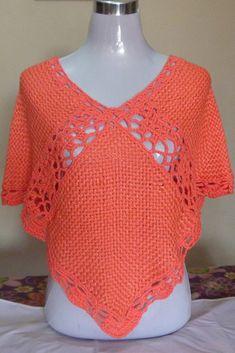 poncho de verano ce seda con hilo y aplicación crochet