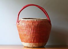ORANGE WOMEN STRAW BASKET@ MODISH VINTAGE