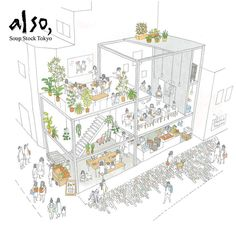 Also Soup Stock Tokyo Now Open In Jiyugaoka Spoon Tamago - Now The Company Is Expanding Its Focus In A New Albeit Confusingly Named Shop Called Also Soup Stock Tokyo In Addition To The Adverb Added To The Original Name Whats Different About Also S Architecture Graphics, Architecture Portfolio, Architecture Drawings, Architecture Design, Axonometric Drawing, Isometric Drawing, Concept Diagram, Sketch Design, Presentation