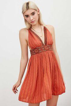 Ecote Gauze Halter Mini Dress - Urban Outfitters