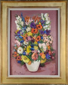 Germaine Brus, Flower still life, 80 cm, auction Jordaens Fauvism, Impressionism, Still Life, Auction, Portrait, Canvas, Flowers, Painting, Color