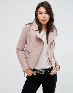 Light rose leather jacket biker style