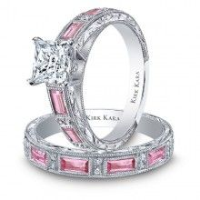 Kirk Kara Charlotte Pink Sapphire Engagement Ring Featuring 0.09 Carats of diamonds and 0.85 Carats of Pink Sapphires in 18kt White Gold.- Maybe Kenny will marry me again one day!