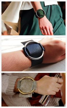 Diy Jewelry Ideas : DIY Two Easy Knockoff Tutorials for the Celine Spring 2012 Leather Ring Cuff. Leather Cuffs, Leather Earrings, Leather Jewelry, Diy Leather Rings, Leather Bracelets, Diy Schmuck, Schmuck Design, Leather Accessories, Fashion Accessories