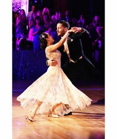 """Janel Parrish and Val Chmerkovskiy foxtrot to """"Call Me Maybe"""" by Carly Rae Jepsen on season 19 of Dancing with the Stars."""