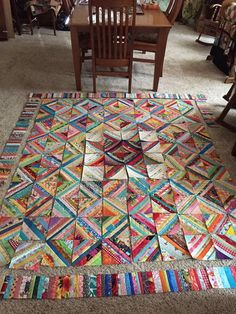 Fabric Scraps and Ways to Use Them: Scrap Fabric Projects Using scraps still needs some planning. This beautiful quilt makes a wonderful argument for making a scrappy quilt.Scrappy quilt-sewing strips together then cutting them then sewing them back toget Colchas Quilting, Scrappy Quilt Patterns, Scrappy Quilts, Machine Quilting, Baby Quilts, Hexagon Quilting, Beginner Quilt Patterns, Quilting Tools, Jellyroll Quilts