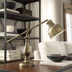 Inspire Q Maximus Antiqued Brass 1-light Accent Desk Lamp