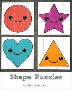 Shape puzzles for shape identification and fine motor skills.