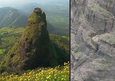 Kalavantin Durg near Panvel, India.  Kalavantin durg is situated aside the prabalgad,the pinnacle is in clouds during rains half of the time.  The base village for the climb is Prabalmachi.  A majestic trek and awesome place to visit during monsoon.