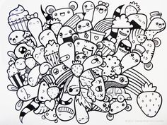 Doodle Art Design Ideas - Doodle definition - Like hand lettering design, Doodles are an unconscious expression of our mind through the art of scribbling and putting pen to paper. Doodle Monster, Colouring Pages, Adult Coloring Pages, Coloring Books, Doodle Art Drawing, Doodle Sketch, Doodling Art, Kawaii Drawings, Easy Drawings