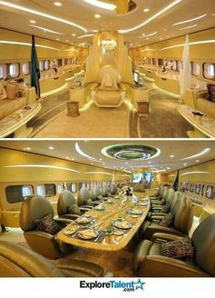 Flying in style. This is the private jet of the King from Saudi Arabia. Jets Privés De Luxe, Luxury Jets, Luxury Private Jets, Private Plane, Photographie New York, Private Jet Interior, Aircraft Interiors, Air Charter, Billionaire Lifestyle