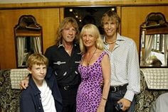 Rick Parfitt with sons Harry and Richard and wife Pat heading to Portsmouth on the Orient Express to perform on HMS Ark Royal to promote the Quo album Heavy Traffic on 30 July 2002 Hms Ark Royal, Rick Parfitt, Shoulder Injuries, Tears For Fears, Greatest Rock Bands, Status Quo, Jimi Hendrix, Lancaster, Pop Group
