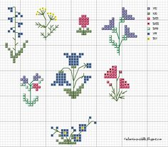 Small cross stitch charts for needle books and pincushions