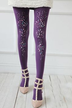 #Aprilwe  Colorful Beading Vertical Texture Tights