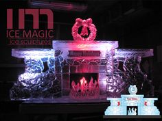 A fireplace sculpted into the ice carving. Timm Bennett is a genius. This was delivered to Thunderbird Country Club for 2013 Thanksgiving Ice Logo, Ice Magic, Food Displays, Ice Sculptures, Happy Holidays, Liquor, Sculpting, Centerpieces, Thanksgiving