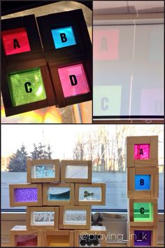 Via @playing_in_k overhead projector & window play with DIY blocks. Added letters & gems (for counting) inside window blocks.