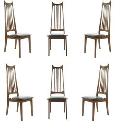 Pair of MidCentury Dining Chairs w Cane Back Mid century