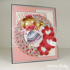 KraftinKimmie Kraftin' Kimmie Stamp Hannah Hearts Moonlight Whispers Happy Valentine's Day (Card Front)