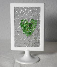 Sea Glass Abstract Heart Mosaic