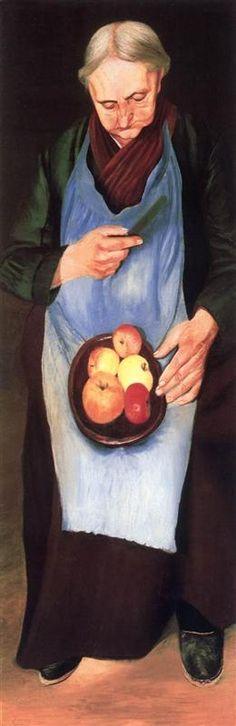 Old Woman Peeliing Apple Tivadar Kosztka Csontvary, Post Impressionism Composition Painting, Post Impressionism, Art Database, Creative Activities, Figure Painting, Old Women, Figurative Art, Female Art, Landscape Paintings