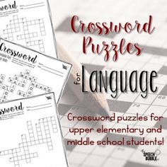 Getting exhausted at the end of hte year and need something for your students to do?? Language Crossword Puzzles for upper elementary and middle school students!  #ELA #Speech #SLP #therapy #SpEd #SpeechBubble